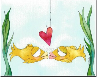 Goldfish Kissing with heart bait on hook 8x10 art print