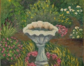Original - Birdbath in Garden - 8 x 10 Oil on Canvas