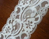 2 Yards Wide White Stretchy Lace by the Yard for Headbands, and Craft Projects