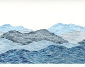 Blue Ridge Mountains I, Original Watercolor Painting, Blue and Grey Landscape by Keely Finnegan