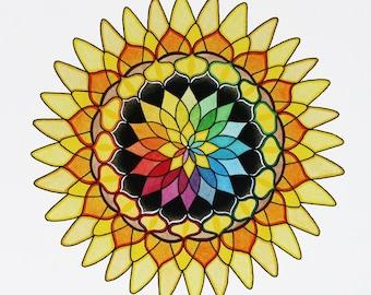 Sunflower Mandala, Giclee Print of an Original Painting by Keely Finnegan