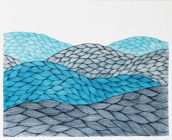 Blue Hills, Original Watercolor Painting, Abstract Landscape by Keely Finnegan