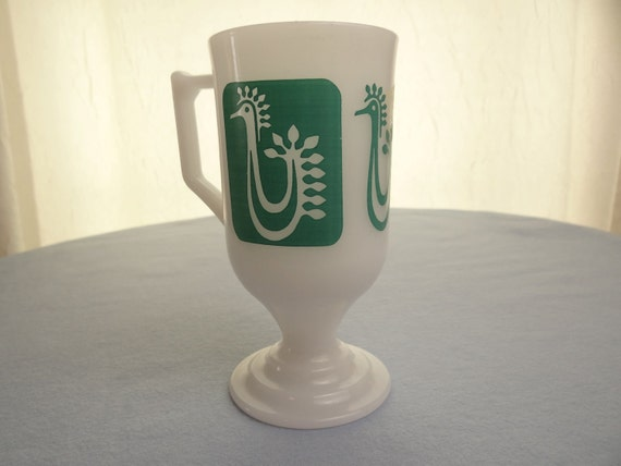 Vintage Footed Milk Glass Cup with Aqua Rooster