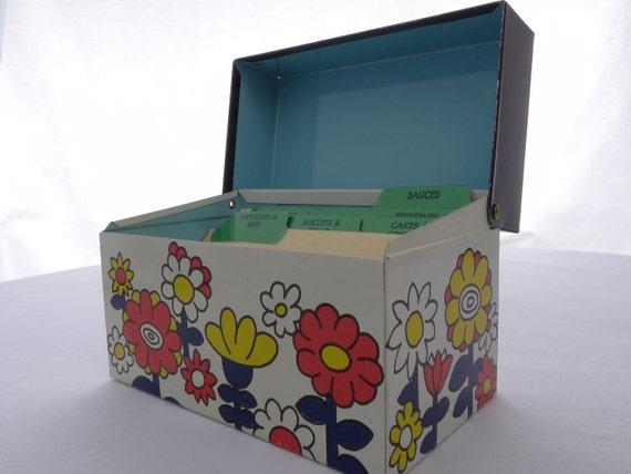 Vintage Ohio Art Mod Flowers Recipe Box \\ CLEARANCE!!
