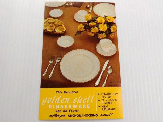 Vintage Mid Century Advertising Postcard for Anchor Hocking Golden Shell Dinnerware - Eames / Atomic Era
