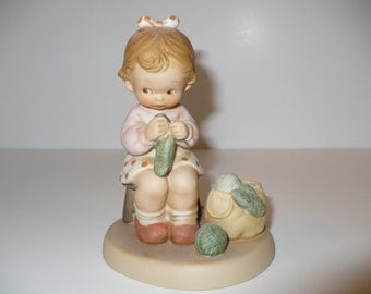 Knitting You A Warm And Cozy Winter Memories of Yesterday Figurine (Retired)