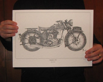 Triumph 6-1, 1934 - Signed Fine Art Limited Edition Print from my original drawing -11.5x16 in, Christmas Gift