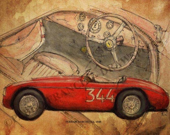 Ferrari Barchetta 1948, Original Handmade Drawing Art Print, 11.5x16 in