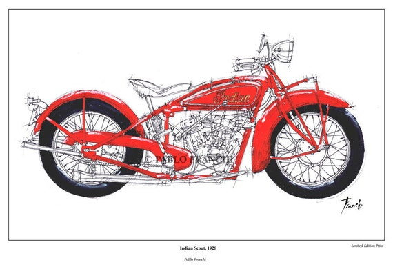 Motorcycle Portrait, INDIAN SCOUT, 1928 - Original Handmade Art Print - Paper size  A3: 11.5x16 in. (29 x 41 cm), trending now