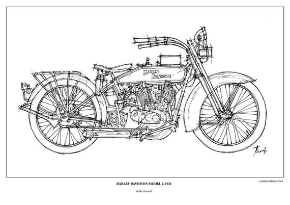 motorcycle art print harley davidson model j 1921