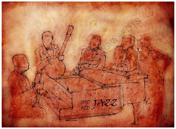 A4 Art print, Good Old Jazz, Original Handmade drawing Print, Louis Armstrong and his hot 5,  Large wall art print, Good old jazz!