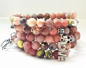Pink Lepidolite Gemstone Beaded Bangle with Silver Tibetan Skull, LOVE charm, double heart charm, and Flower charm on Memory wire.