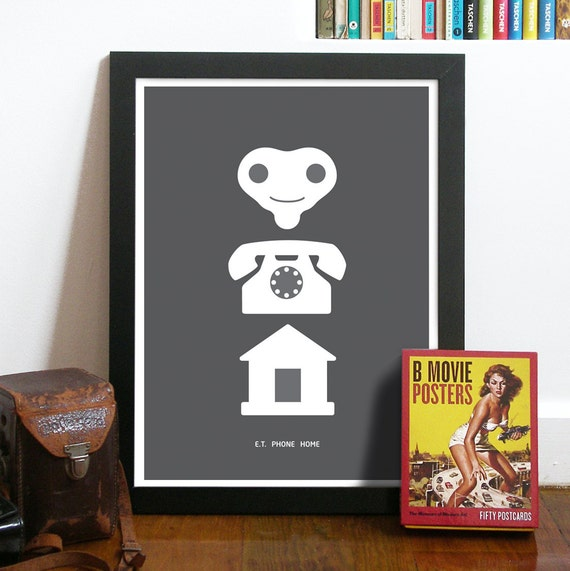 E.T. Movie Art Poster Print illustrated in Pictograms in Dark Grey ET PHONE HOME print Poster Art classic movie line Poster funny poster art