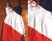 80s Red White and Blue Linen Nautical Embroidered Anchor Mini Dress