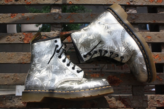 Dr Martens Metallic Holographic Silver Patent Leather Design Boots