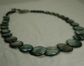 Graduated Grey and Blue Colored Shell Necklace