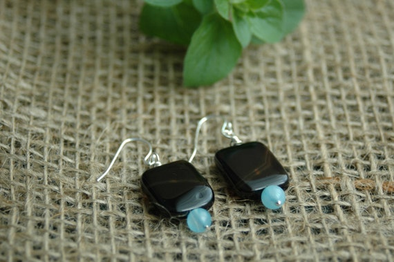 Black Agate Earrings, Black Squares and Blue Circles, Blue Quartz and Black Agate Earrings