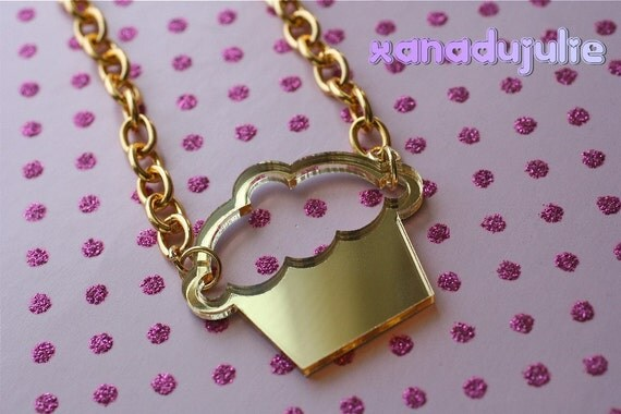 Gold Laser Cut Cupcake Necklace
