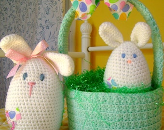 Easter Bunny CROCHET PATTERN Basket with Bunny and Baby Bunnie