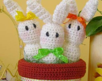 Bunny CROCHET PATTERN Spring Home Decor Bunny Seedlings