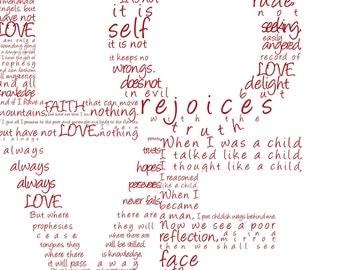 LOVE Print in Red - 1 Corinthians 13 - Digital File