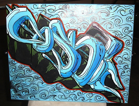 Seafoam  20x16 Graffiti Canvas