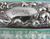 Cut Glass Vintage Vanity Container With An Ornate Silver Plated Lid Marked Chicago