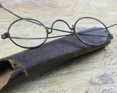 Antique Wire-Rimed Spectacles With Original Cardboard Case- 1800's