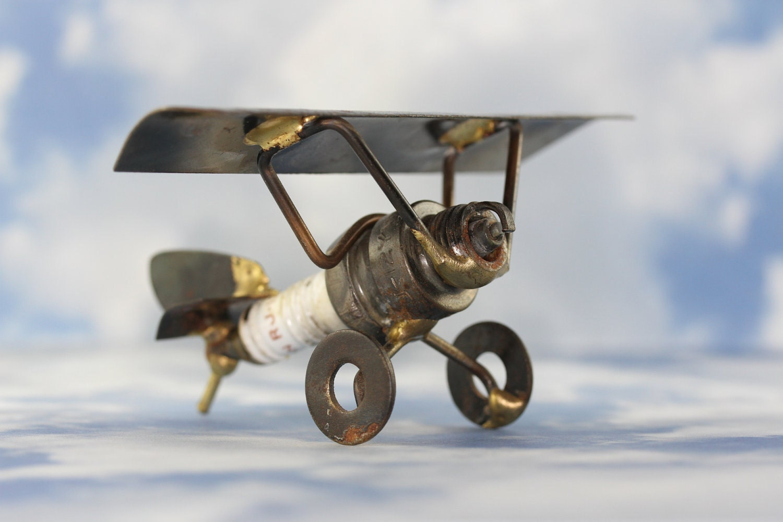 Steampunk Welded Metal Art Sculpture Spark Plug Airplane