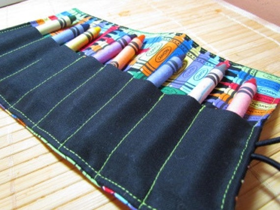 Fabric Crayon Roll Up with crayon print - convenient for car rides, great for party favors, ask me about custom orders