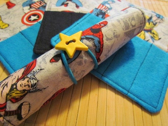 SAVE on this set  4 Mini Crayon Holder Roll Ups - Marvel Comics . . . great party favors