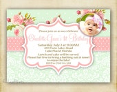 Shabby Chic Pink Rose and Green Damask  - Photo Invitation - Printable DIY - 4x6 or 5x7