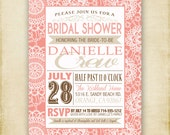 Vintage Lace Poster - Bridal or Baby Shower Invitation - Printable - DIY - 4x6 or 5x7