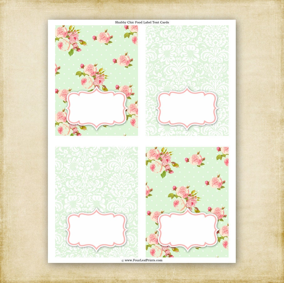 Items Similar To Instant Download Green Shabby Chic Food