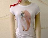 Happy Trails Fashion Illustration on a White Scoop neck Bella  Whisper Tee Shirt