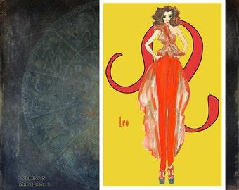 "Leo -fashion illustration- Greeting Card( 5.5""x8"")"