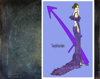 """Sagittarius-fashion illustration-Greeting Card (5.5""""x 8"""")"""