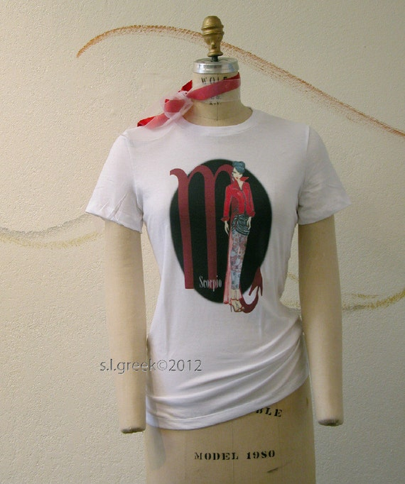 Scorpio Fashion Illustration on Bella  Favorite LadiesTee Shirt