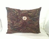 Elegant OOAK 12x16 Swirled Paisley-Inspired Accent Pillow