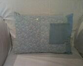 OOAK Light Blue and White Lightweight Denim Accent Pillow