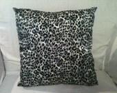 OOAK 14x14 Gray, Black, White Leopard Print Accent or Throw Pillow