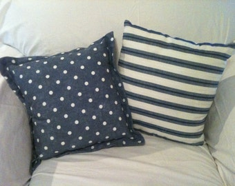 TWO Blue and White PIllows - Polka Dots and Stripes - One of a Kind
