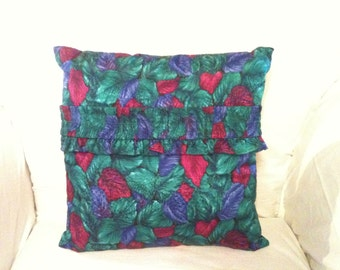 Elegant OOAK  Multi-Colored  Leaf Pattern 16x16 Accent Pillow