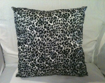OOAK 14x14 Gray, Black, White Leopard Print Accent or Throw Pillow