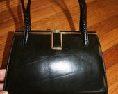 70s ViNtAgE BLACK purse HANDBAG gold trim