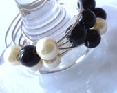 Cream and black pearl wine glass charms - set of 4