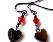 Hematite heart and red Swarovski earrings