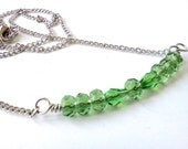 Green Czech glass beaded bar necklace - silver chain