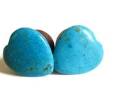 Wooden Ear Plugs - 1 inch (2.54 cm) Turquoise Hearts
