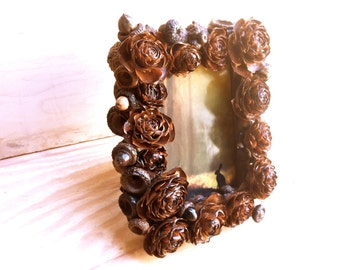 Rustic picture frame home decor cedar roses